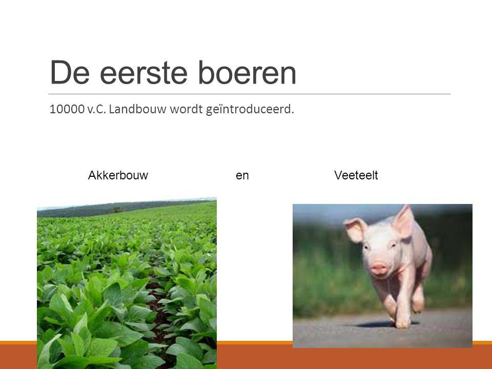 De eerste boeren 10000 v.C. Landbouw wordt geïntroduceerd.