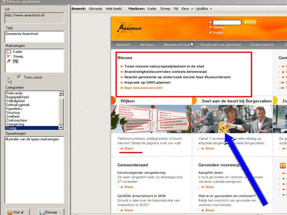 Infocus: mensen voeren een aantal taken uit op een website en kunnen commentaar geven op ieder aspect van de website dat ze relevant vinden.