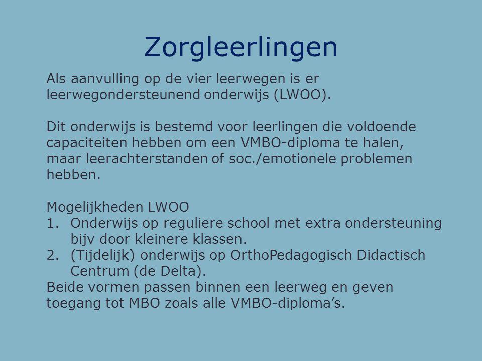 Zorgleerlingen Als aanvulling op de vier leerwegen is er leerwegondersteunend onderwijs (LWOO).