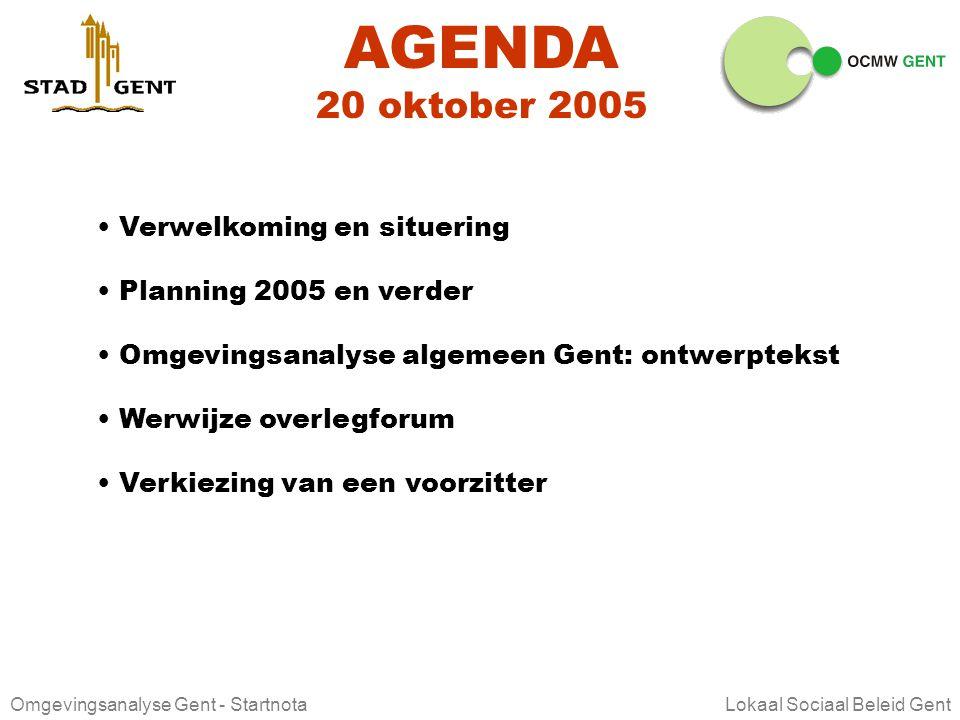 AGENDA 20 oktober 2005 Verwelkoming en situering