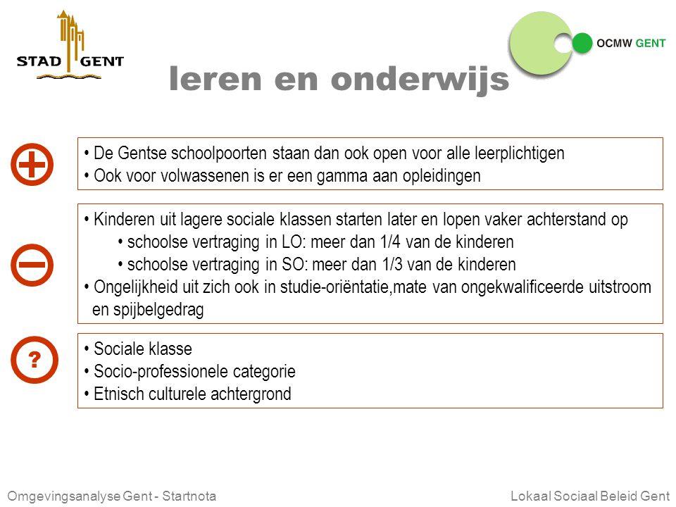 leren en onderwijs De Gentse schoolpoorten staan dan ook open voor alle leerplichtigen. Ook voor volwassenen is er een gamma aan opleidingen.