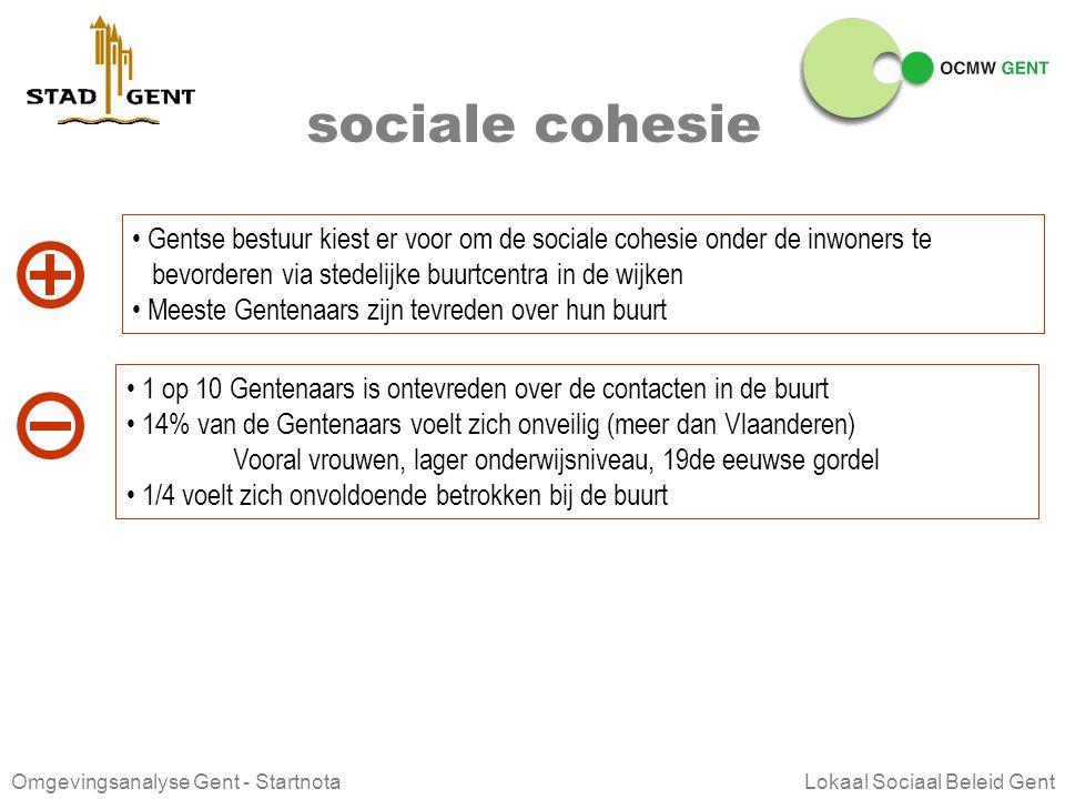 sociale cohesie Gentse bestuur kiest er voor om de sociale cohesie onder de inwoners te. bevorderen via stedelijke buurtcentra in de wijken.