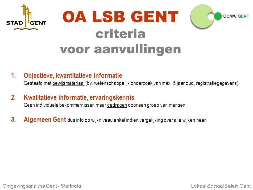 OA LSB GENT criteria voor aanvullingen