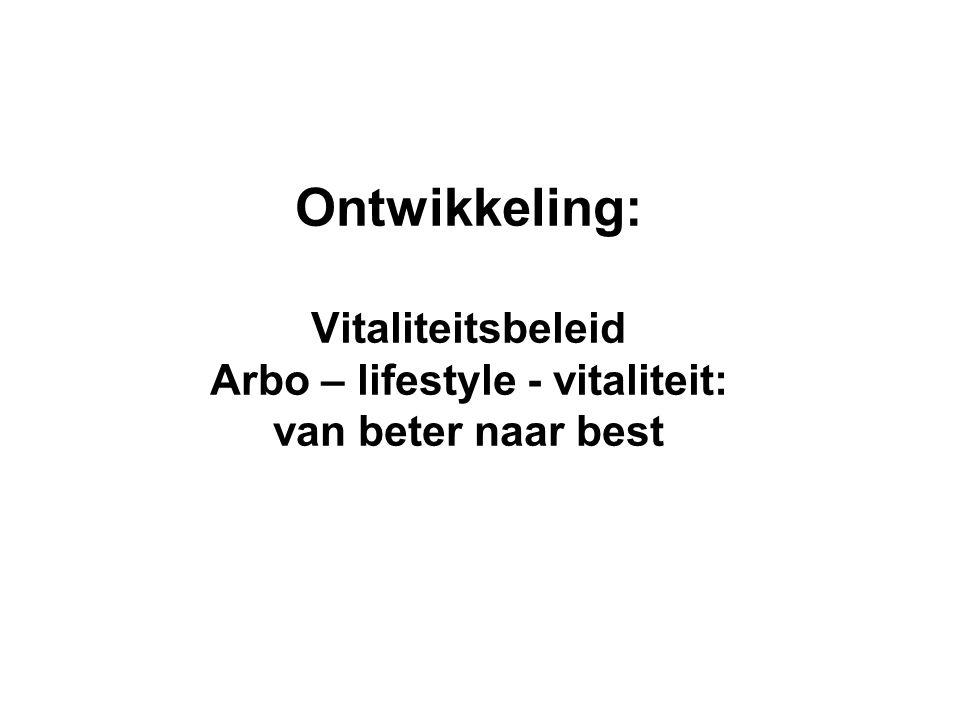 Ontwikkeling: Vitaliteitsbeleid Arbo – lifestyle - vitaliteit: van beter naar best