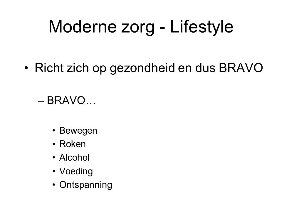 Moderne zorg - Lifestyle