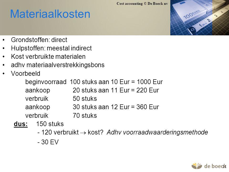 Materiaalkosten Grondstoffen: direct Hulpstoffen: meestal indirect