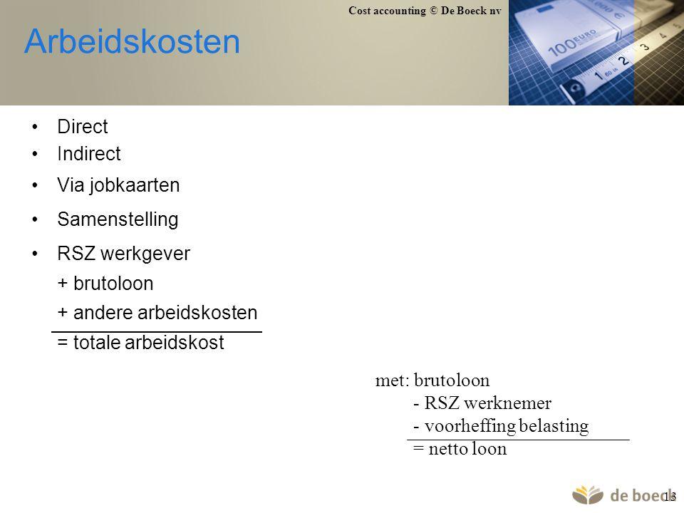 Arbeidskosten Direct Indirect Via jobkaarten Samenstelling