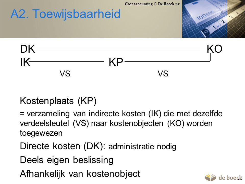 A2. Toewijsbaarheid DK KO IK KP VS VS Kostenplaats (KP)