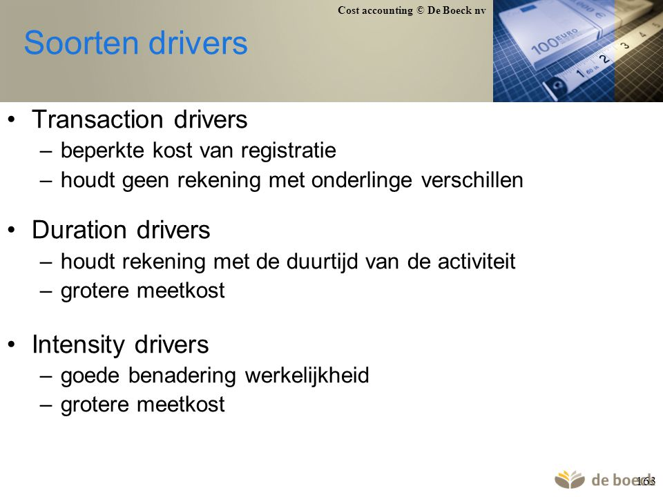 Soorten drivers Transaction drivers Duration drivers Intensity drivers
