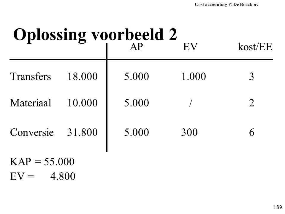 Oplossing voorbeeld 2 AP EV kost/EE Transfers 18.000 5.000 1.000 3