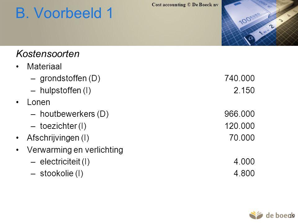 B. Voorbeeld 1 Kostensoorten Materiaal grondstoffen (D) 740.000