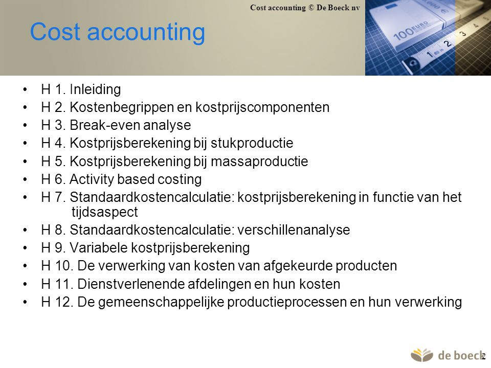 Cost accounting H 1. Inleiding