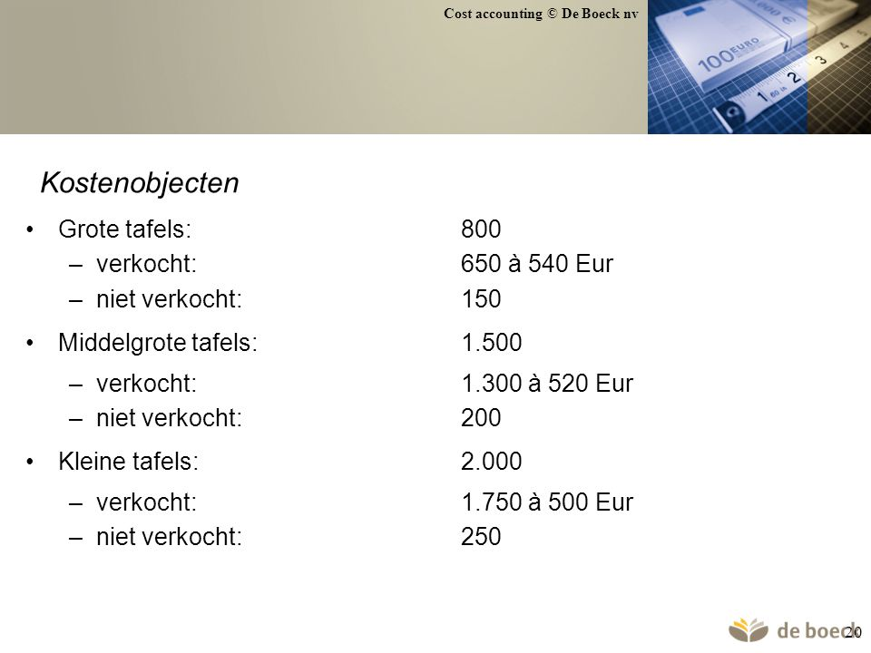 Kostenobjecten Grote tafels: 800 verkocht: 650 à 540 Eur