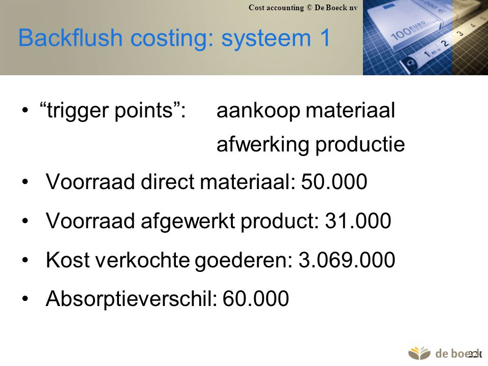 Backflush costing: systeem 1