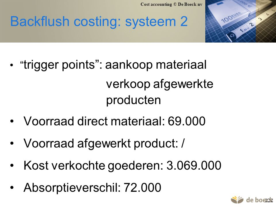 Backflush costing: systeem 2