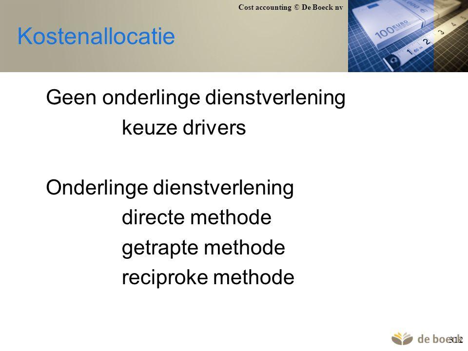 Kostenallocatie Geen onderlinge dienstverlening keuze drivers