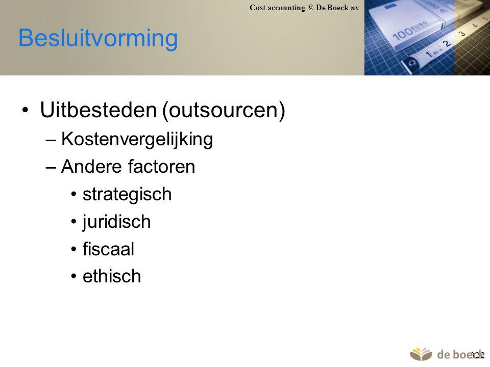Besluitvorming Uitbesteden (outsourcen) Kostenvergelijking