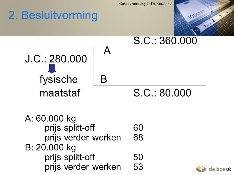 2. Besluitvorming S.C.: 360.000 A J.C.: 280.000 fysische B