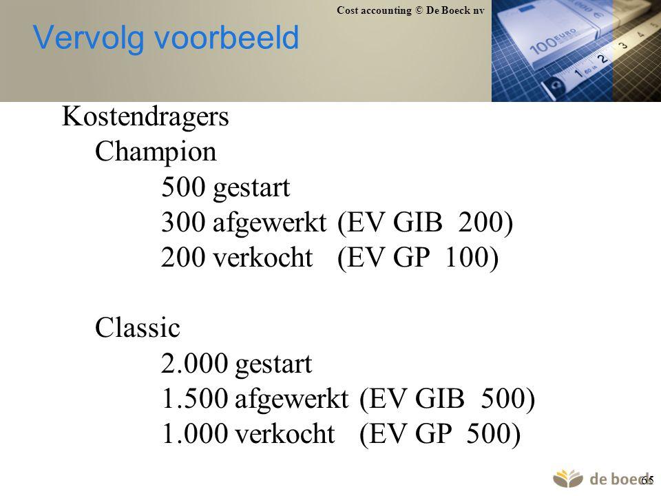 Vervolg voorbeeld Kostendragers Champion 500 gestart