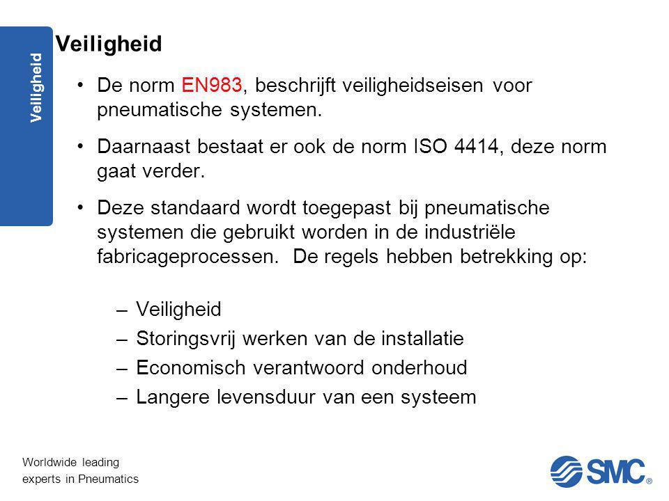 Veiligheid De norm EN983, beschrijft veiligheidseisen voor pneumatische systemen. Daarnaast bestaat er ook de norm ISO 4414, deze norm gaat verder.