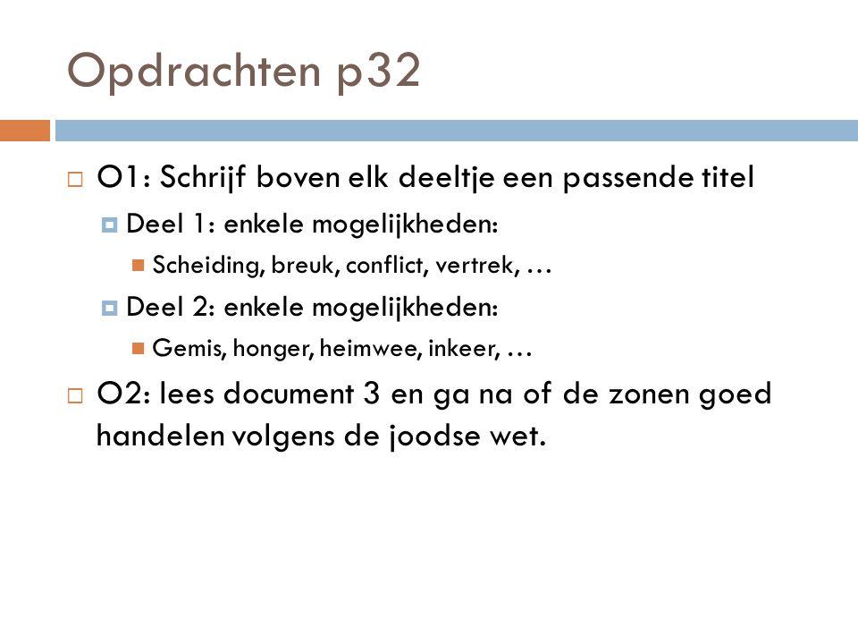 Opdrachten p32 O1: Schrijf boven elk deeltje een passende titel
