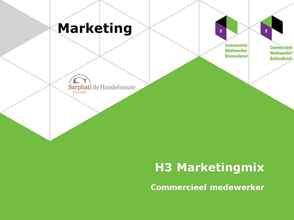 Marketing H3 Marketingmix Commercieel medewerker
