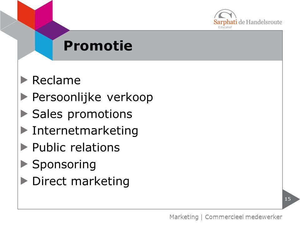Promotie Reclame Persoonlijke verkoop Sales promotions