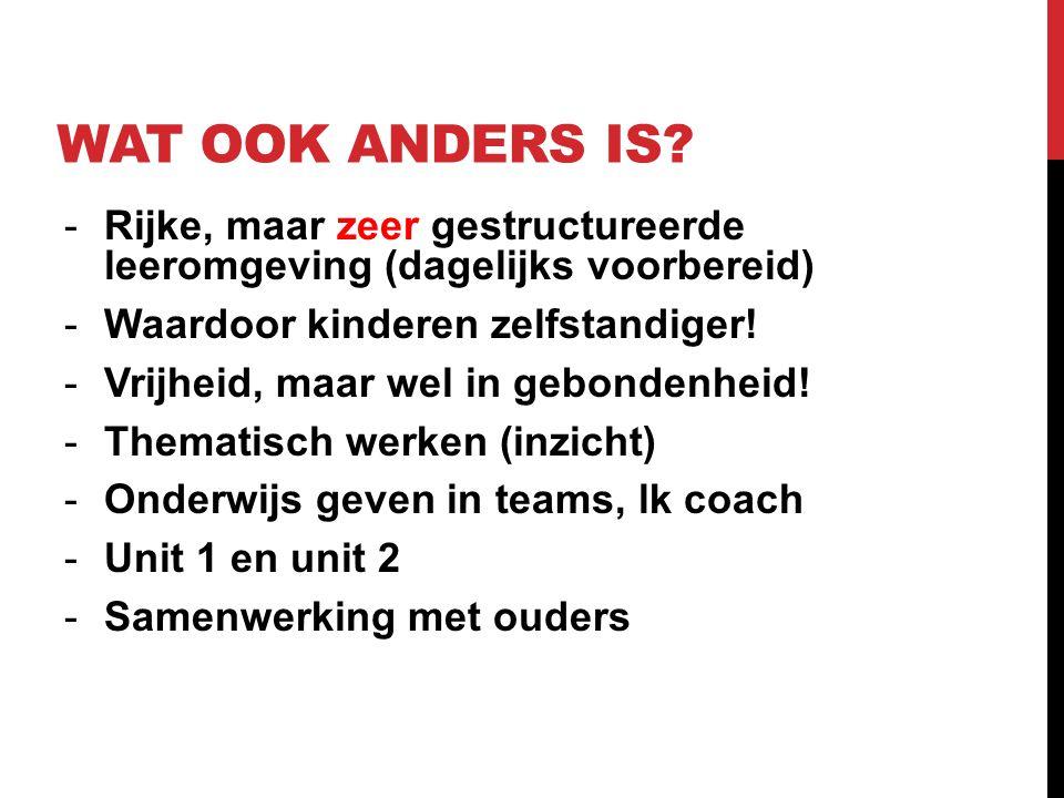 Wat Ook Anders Is Rijke, maar zeer gestructureerde leeromgeving (dagelijks voorbereid) Waardoor kinderen zelfstandiger!