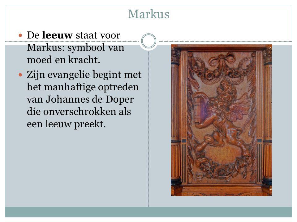 Markus De leeuw staat voor Markus: symbool van moed en kracht.