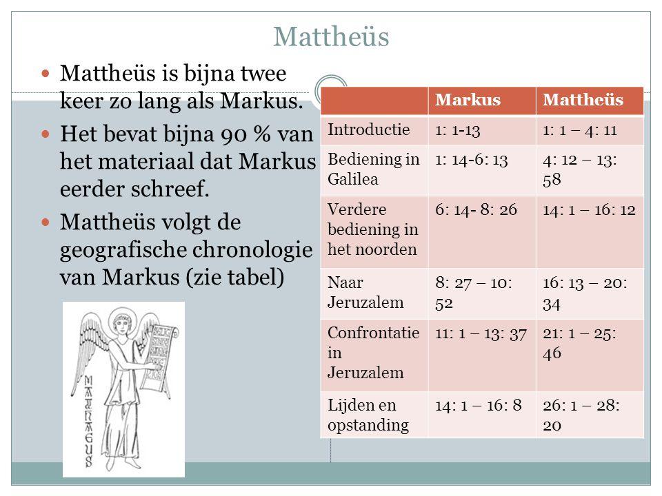 Mattheüs Mattheüs is bijna twee keer zo lang als Markus.