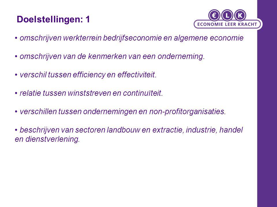 Doelstellingen: 1 • omschrijven werkterrein bedrijfseconomie en algemene economie. • omschrijven van de kenmerken van een onderneming.