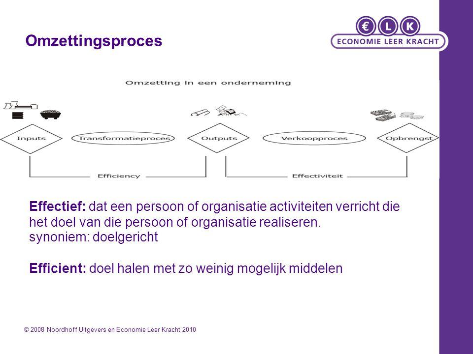 Omzettingsproces Effectief: dat een persoon of organisatie activiteiten verricht die het doel van die persoon of organisatie realiseren.