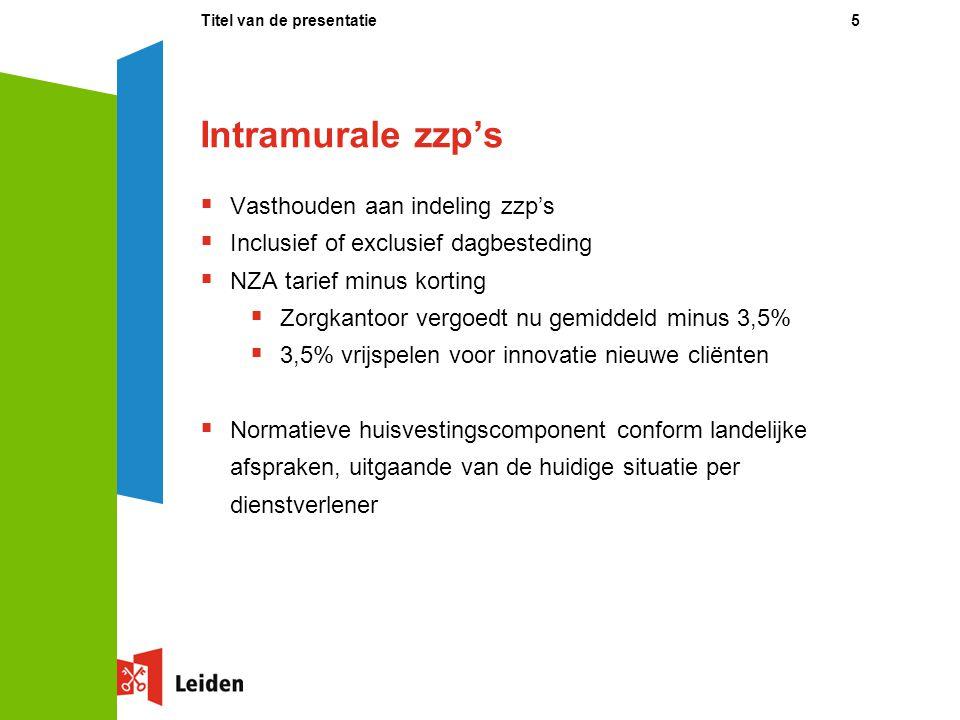 Intramurale zzp's Vasthouden aan indeling zzp's