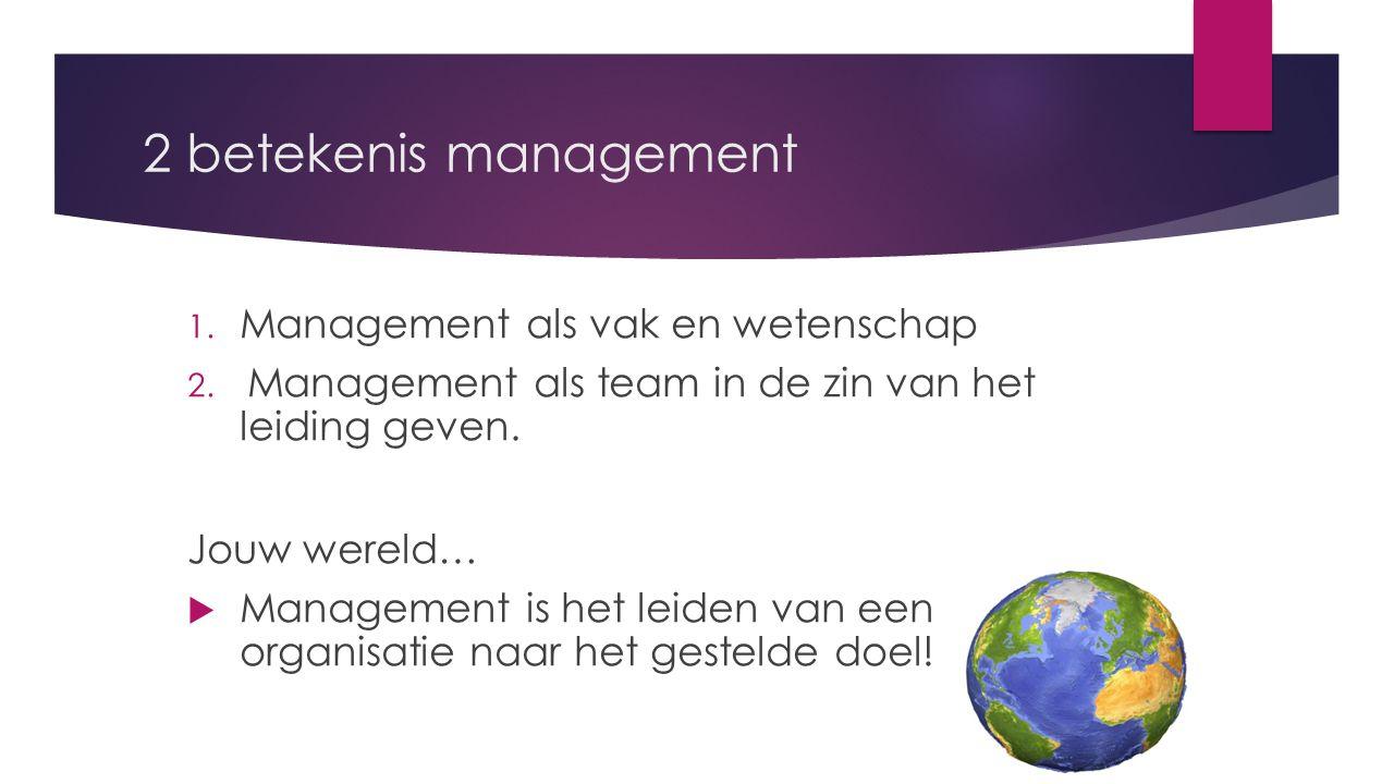 2 betekenis management Management als vak en wetenschap
