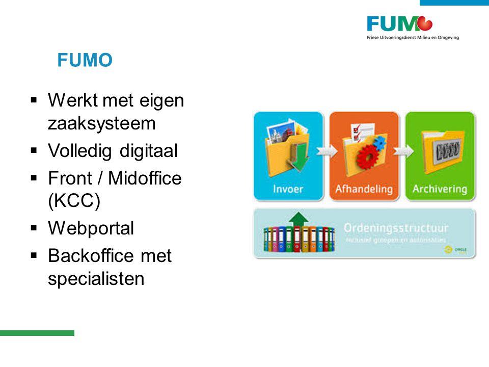 FUMO Werkt met eigen zaaksysteem. Volledig digitaal.