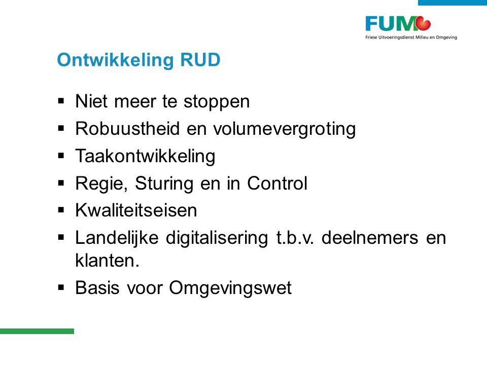 Ontwikkeling RUD Niet meer te stoppen. Robuustheid en volumevergroting. Taakontwikkeling. Regie, Sturing en in Control.