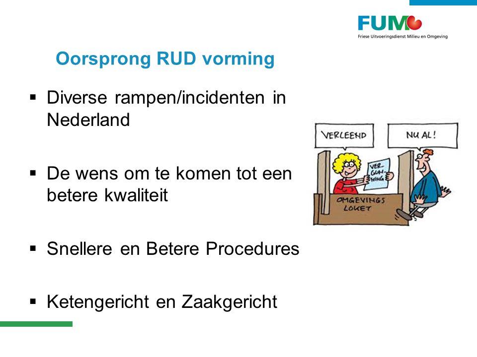 Oorsprong RUD vorming Diverse rampen/incidenten in Nederland. De wens om te komen tot een betere kwaliteit.
