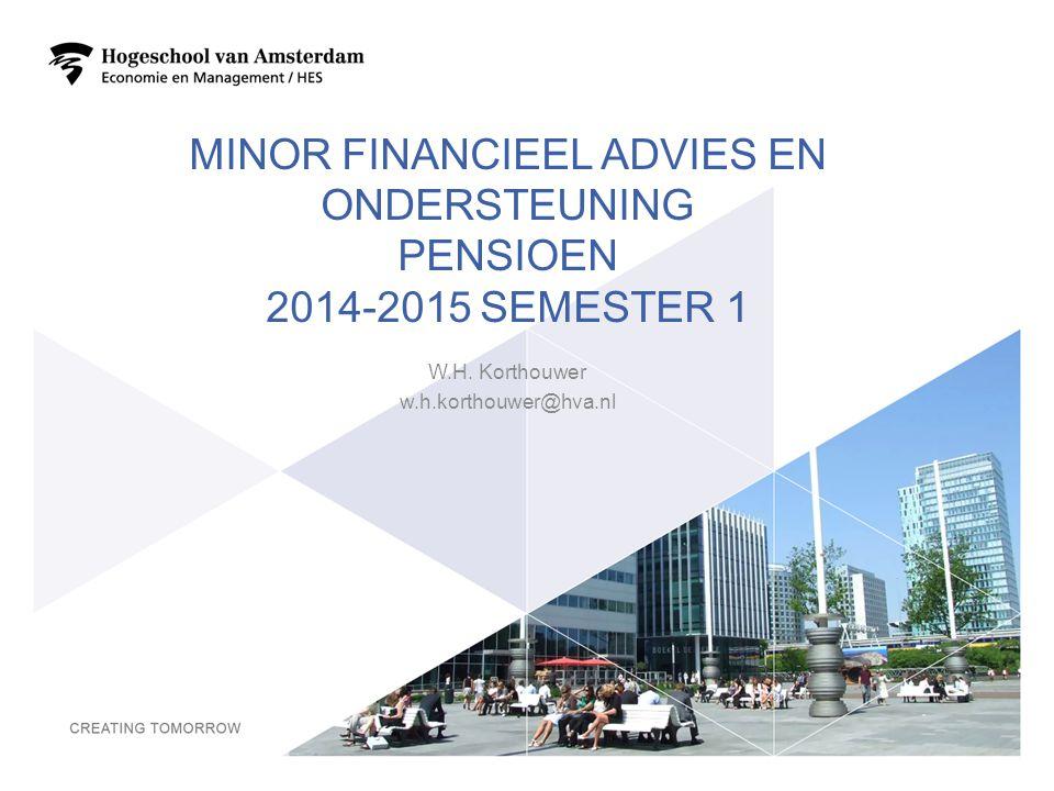 Minor financieel advies en ondersteuning pensioen 2014-2015 semester 1