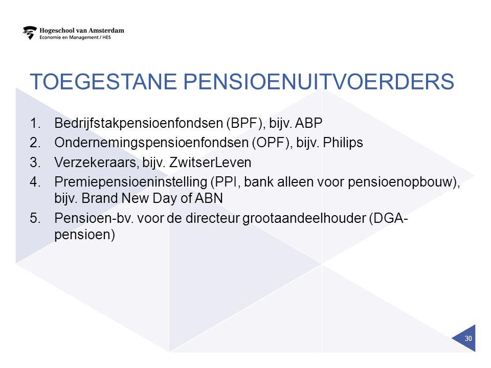 Toegestane pensioenuitvoerders
