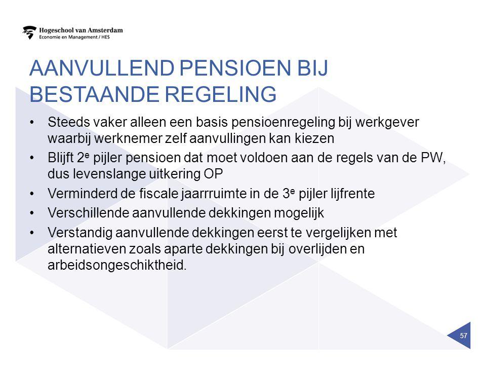 Aanvullend pensioen bij bestaande regeling