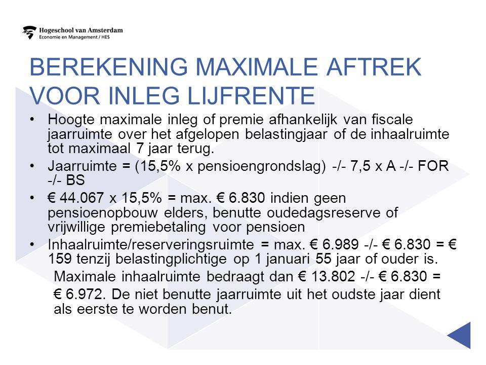 Berekening maximale aftrek voor inleg lijfrente