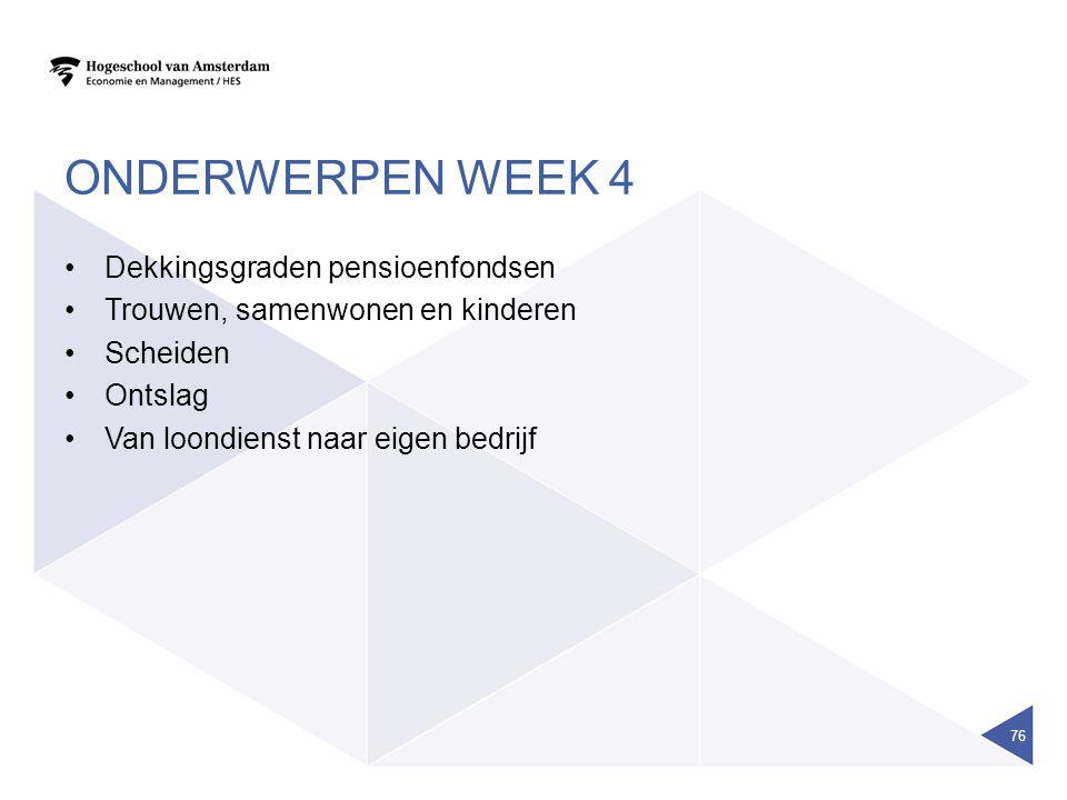 Onderwerpen week 4 Dekkingsgraden pensioenfondsen