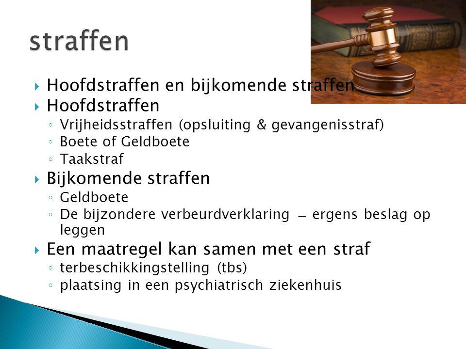 straffen Hoofdstraffen en bijkomende straffen Hoofdstraffen