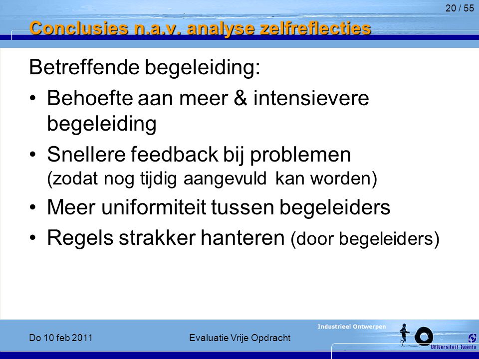 Conclusies n.a.v. analyse zelfreflecties