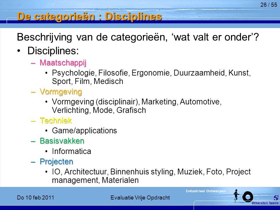 De categorieën : Disciplines