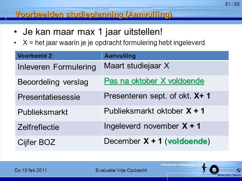 Voorbeelden studieplanning (Aanvulling)