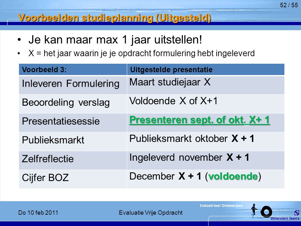 Voorbeelden studieplanning (Uitgesteld)
