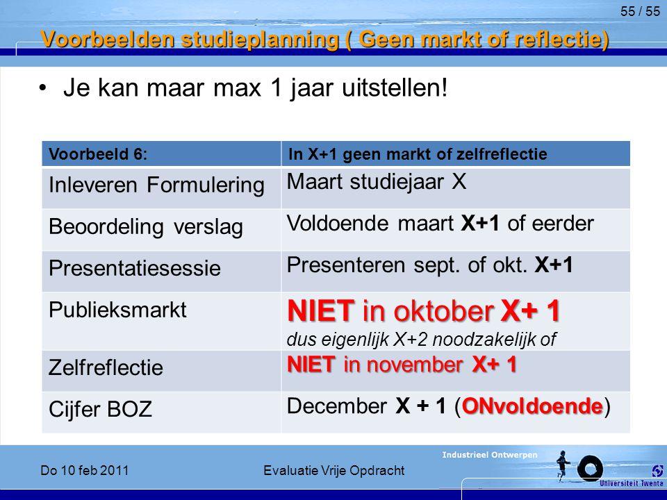 Voorbeelden studieplanning ( Geen markt of reflectie)