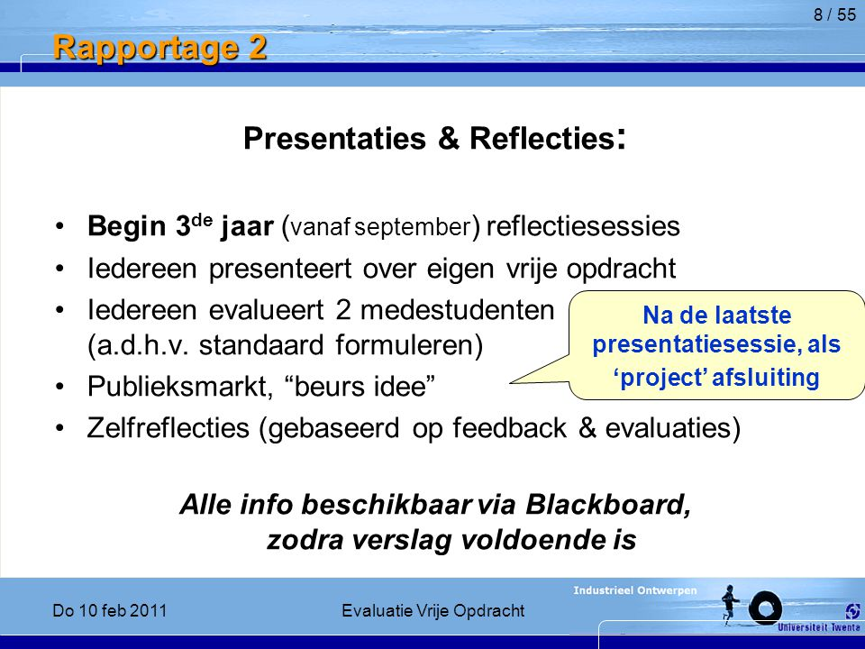 Rapportage 2 Presentaties & Reflecties: