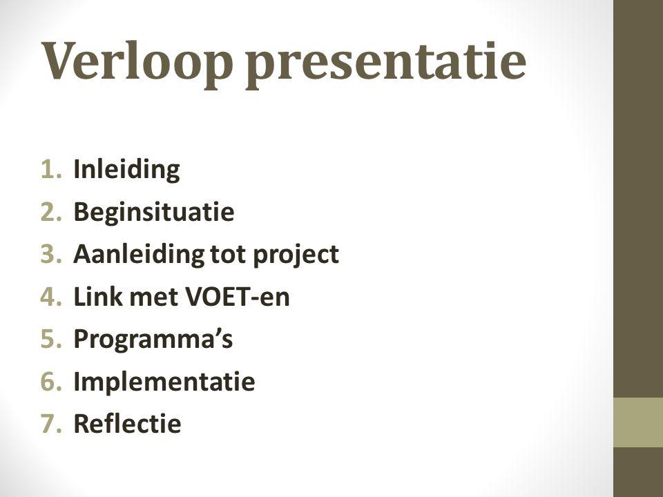 Verloop presentatie Inleiding Beginsituatie Aanleiding tot project